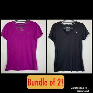 Bundle of 2 Nike Dri-Fit V-Neck Short Sleeve Tops